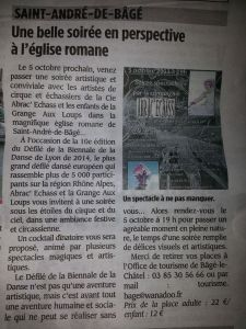 article de presse abrac echass echassiers spectacles artistes cirque parade animation evenementiel