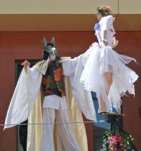 spectacle numéro fil de fer feerique animation fee loup fragon danse duo echasses echassier fildeferiste vaporeux magnifique amour poesie tight wire saut acrobatie macon lyon (9)