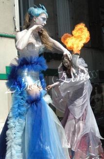 4 elements echassiers eau terre air feu sirene elfe maya cracheur de feu parade animation spectacle carnaval magique colores (9)
