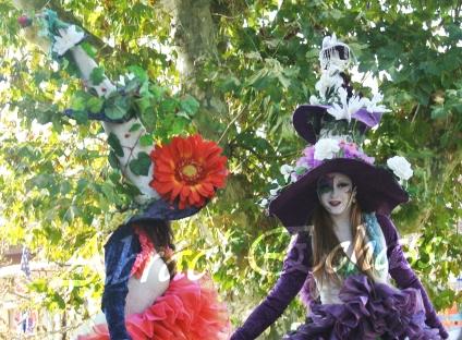 clowns en ciel echassiers colores oiseaux fleurs festifs parade animation carnaval evenementiel bulles de savon danse chapeau vertigineux froufro (72)