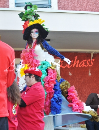 clowns en ciel echassiers colores oiseaux fleurs festifs parade animation carnaval evenementiel bulles de savon danse chapeau vertigineux froufro (73)