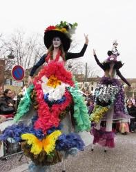 clowns en ciel echassiers colores oiseaux fleurs festifs parade animation carnaval evenementiel bulles de savon danse chapeau vertigineux froufro (87)