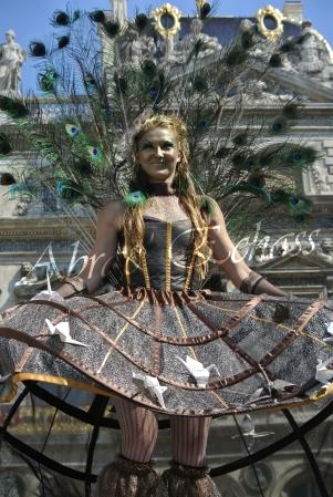 echass et toiles echassiers dali femme paon plumes de paon crinoline parade animation evenementiel grandiose magnifiques (11)