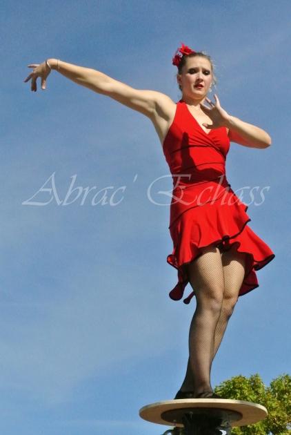 flamenca danse sur fil de fer danse flamenco spectacle rouge et noir cirque animation evenementiel guitare espagnol gitan (10)