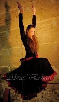 flamenca danse sur fil de fer danse flamenco spectacle rouge et noir cirque animation evenementiel guitare espagnol gitan (17)