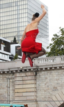 flamenca danse sur fil de fer danse flamenco spectacle rouge et noir cirque animation evenementiel guitare espagnol gitan (28)