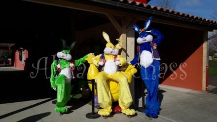 Lapinous' Foufous echassiers rebondissants loufoques parade animation evenementiel lapins fantaisie extravagance sautillants mascottes paques (4)