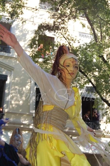 nuité jour echassieres dualite spectacle animation parade bleu et jaune danse crinoline (21)